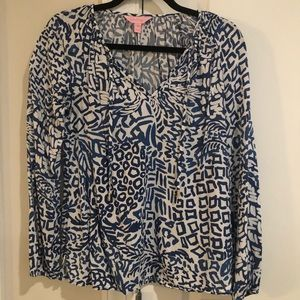 LillyPulitzer Long Sleeve Blue and White blouse